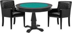 Mesa de Jogos Carteado Victoria Redonda Tampo Reversível Preto com 2 Cadeiras Liverpool Corino Preto Matelassê - Gran Belo