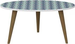 Mesa de Centro Oval 1007 Retro Branco/Estampa Azul - Bentec