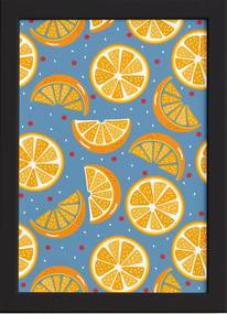 Quadro Frutas Coloridas Laranjas Moldura Preta 33x43cm