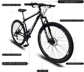 Bicicleta Aro 29 Quadro 17 Aço 21 Marchas Suspensão Freio a Disco Mecânico Preto/Branco - Dropp