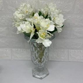 Vaso de vidro Diamont grande com flores brancas