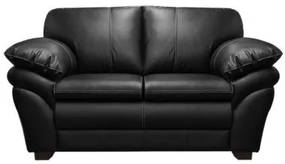 Sofá de Couro Bradley 2 lugares - Preto Pigmentado - Mempra