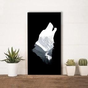 Quadro Alto Relevo Lobo Uivando Montanhas Preto40x75cm