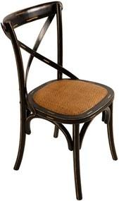 Cadeira Paris Preta de Madeira sem Braço Assento de Rattan