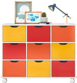 Nicho Organizador com Rodízios Toys 9 Gavetas Branco/Colorido - Mpozenato