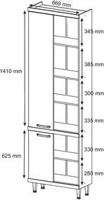 Paneleiro 4 Portas 700mm Sicília com Vidro Argila-Texturizada e Preto-Brilho Multimóveis
