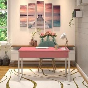 Mesa em Metal com tampo de Aço Colorido | Tam: 80x60cm|Cor: Rosa e Branco