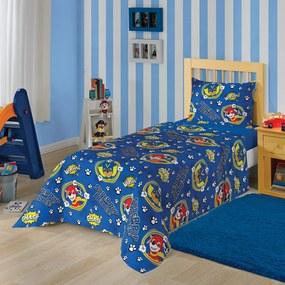 Jogo de Cama Solteiro Estampado Patrulha Canina Menino 1,40 m x 2,20 m Com 3 peças Lepper Azul