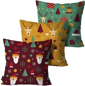 Kit com 3 Almofadas de Natal Decorativas Colorido45x45