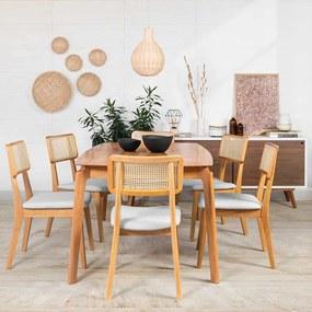 Conjunto Mesa Lala 1,80m x 1m com 6 Cadeiras Lala Cinza Claro