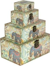 Conjunto com 4 Baús Elefante India