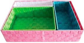 Conjunto 4 Cestos Little Squares Coloridos em Tecido - Urban