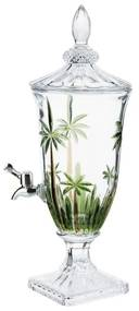 Suqueira De Cristal Ecológico Com Pé E Tampa Palm Tree Handpaint 2 Litros 27576 Wolff