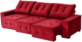 Sofá Retrátil E Reclinável Puremax 2,80 Mts Tecido Suede Vermelho - Moveis Marfim