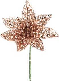 Flor Natalina Artificial Decorativa Rose Gold Vazada 20cm