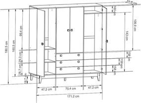 Guarda-Roupa Volkes (L: 171cm) C/ 4 Portas E 3 Gavetas Mel Freijó