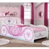 Cama Infantil Carruagem Branco Rosa Móveis Estrela
