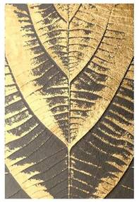 Quadro Abstrato Folhas Preto e Dourado - KF 46334 40x60 (Moldura 520)