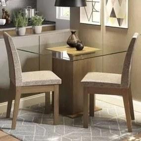 Conjunto Sala de Jantar Madesa Rosi Mesa Tampo de Vidro com 2 Cadeiras Rustic/Fendi Cor:Rustic/Fendi