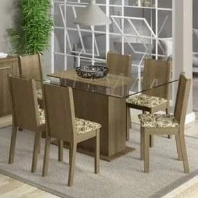 Conjunto Sala de Jantar Madesa Molly Mesa Tampo de Vidro com 6 Cadeiras Rustic/Lírio Bege Cor:Rustic/Floral Lírio Bege