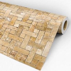 Papel de parede adesivo pedra tijolo amarelado