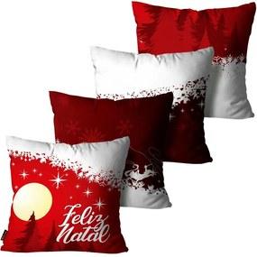 Kit com 4 Capas para Almofadas Premium Cetim Mdecore Natal Feliz Natal Vermelha45x45cm