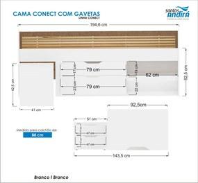 Cama Conect 02 Gav C/Criado Branca 22666 Santos Andirá