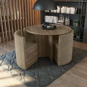 Sala de Jantar Nira com Mesa Redonda e 4 Cadeiras Kappesberg - Nogal/Caramelo