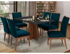 Conjunto Mesa Karina 1,60 m Preto + 6 Cadeiras Leticia Veludo Azul Marinho