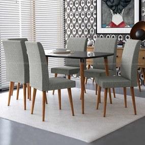 Conjunto Mesa Para Sala De Jantar Retrô 170 X 90 Com 6 Cadeiras Jade Rv Móveis - Preto/cinza