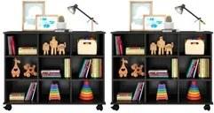 Kit 2 Nichos Organizadores Multifuncionais com Rodízios Toys Q01 Preto