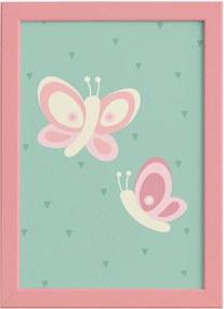 Quadro Infantil Coruja Baby Borboletas Moldura Rosa 22x32cm
