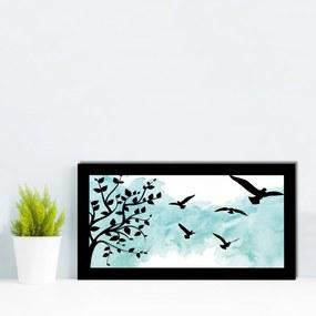 Quadro Alto Relevo Árvore Pássaros Verde Água40x75cm