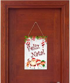 Placa Decorativa Suspensa Feliz Natal Papai Noel, Rena, Duende, Boneco de Neve Único Pump UP