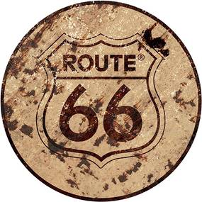 Placa Route 66 Redonda