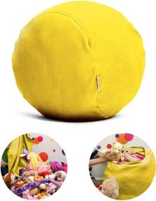 Puff Organizador Infantil para Bichos de Pelúcia Amarelo