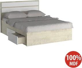Cama de Casal Com 4 Gavetas 100% MDF 22880 Marfim Areia/Branco - Foscarini