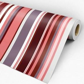 Adesivo listrado vermelho rosa roxo e branco