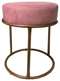 Puff Redondo Decorativo Luxe Base de Aço Cobre Suede Rosê - Sheep Estofados - Rosa