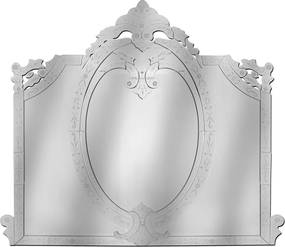 Espelho Veneziano Grande Com Peça Sobrepostas Bisotadas