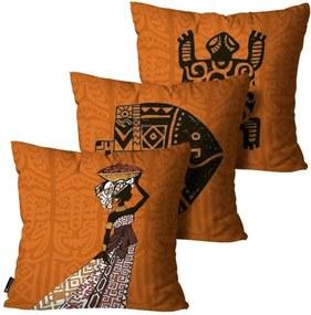 Kit com 3 Almofadas Mdecore Africana Laranja 55x55cm