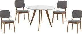 Conjunto Mesa Square Redonda Branco Fosco 80cm + 4 Cadeiras Dadi Cinza