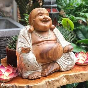 Escultura Happy Buddha 40cm | Pátina