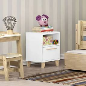 Mesa de Cabeceira Infantil 1 Porta e 1 Nicho Branco/Natural - Casatema