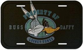 Placa de Parede Looney Tunes Bugs Bunny and Daffy Duck Cinza em Metal