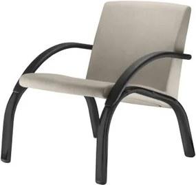 Poltrona Harmony Lounge Assento Crepe Bege com Bracos e Base Preta - 55026 Sun House
