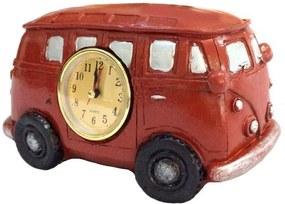 Relógio De Mesa Kombi Resina Vermelho