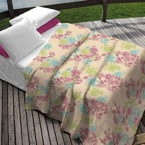 Kit Teka Queen Colcha + Porta Travesseiro Creme Floral  Erika  - 90 fios  (3 peças)