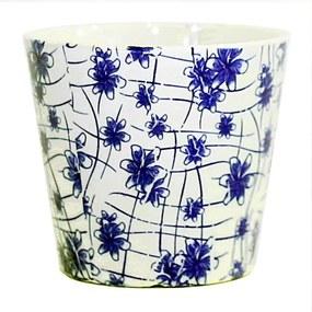 Cachepot em Porcelana Flores Azul e Branca D17cm x A15cm