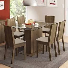 Conjunto Sala de Jantar Madesa Gales Mesa Tampo de Vidro com 6 Cadeiras Rustic/Pérola Cor:Rustic/Pérola